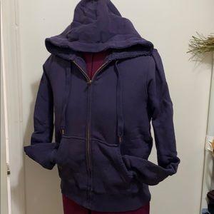Vintage J Crew fleece purple sweatshirt- zip up